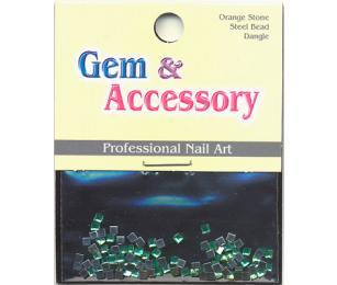 Zdobící kamínky, tvar kostičky, barva zelená