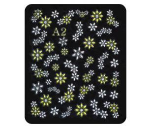 Nehtové obtisky kytky bílo-žluté 3D samolepící
