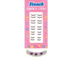 Nehtové obtisky Francie samolepící s kamínky - fialové