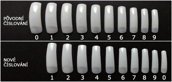 Změna číslování u zahnutých nehtových tipů
